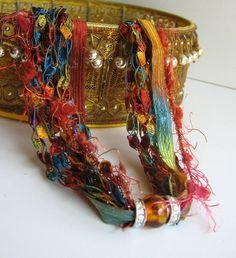 Mélange Fiber and Bead Necklace - Rainbow Colors -  Minimal, Multi-Fiber, Ribbon, Glass Bead, Rhinestone Beads,