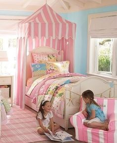 Pottery Barn Kids... I like this ceiling treatment and canopy idea for girls' room