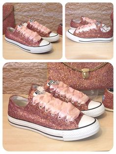 Womens metallic Rose gold Sparkly glitter Converse all star chucks sneakers shoes white or pink satin laces bride wedding prom sweet 16 by CrystalCleatss on Etsy Converse All Star, Glitter Converse, Glitter Shoes, Rose Gold Glitter, Sparkly Shoes, Glitter Top, Loose Glitter, Bling Shoes, Glitter Dress