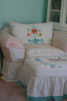 Vintage Chenille Bedspread Slipcovers  ♥ Shabby Vintage