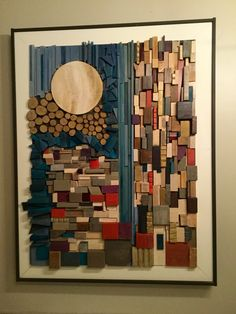 Wood mosaic wall art moon sun Wood Mosaic, Mosaic Wall Art, Mosaic Diy, Diy Wall Art, Hanging Wall Art, Wall Art Sets, Scrap Wood Art, Reclaimed Wood Art, Wooden Art