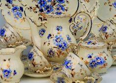 the famous Zsolnay porcelain Cornflower pattern Tea Cup Saucer, Tea Cups, Porcelain Dolls Value, Vintage Tableware, Vintage Dishes, Vintage Kitchen, Chocolate Pots, Vintage China, Pottery Art