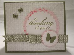 """embossed """"thinking of you"""" card"""