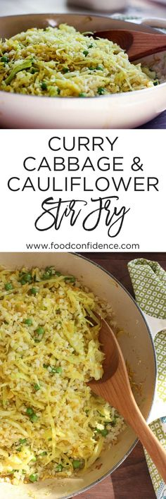 This Curry Cabbage & Cauliflower Stir Fry is simple and delicious! Perfect for an easy veggie side dish! // curry recipe // healthy vegetarian recipes // healthy vegan recipes //