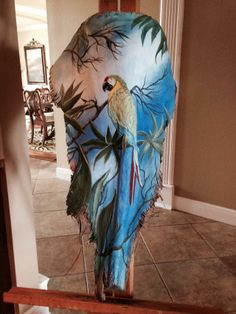 Hand painted palm frond in acrylic by Beth Weems Palm Frond Art, Palm Tree Art, Palm Fronds, Painted Leaves, Hand Painted, Wood Bark, Reclaimed Wood Art, Palmiers, Tropical Art