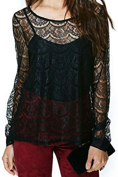 ROMWE | ROMWE Asymmetric Hollowed-out Lace Crochet Black Blouse, The Latest Street Fashion