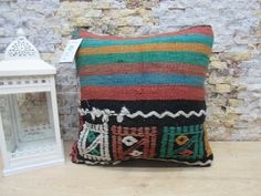 anatolian kilim pillow / striped kilim pillow / boho decor pillow /  kilim pillow / handwoven pillow  / 16x16 pillow cover /  code 8053 Patio Pillows, Rustic Pillows, Bohemian Pillows, Decorative Pillows, Aztec Pillows, Kilim Pillows, Throw Pillows, Handmade Pillows, Boho Decor