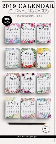 118 Best 2019 Printable Calendars images | Day planners, Free