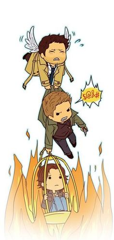 Adorable Cas and Dean and Sam. #Supernatural