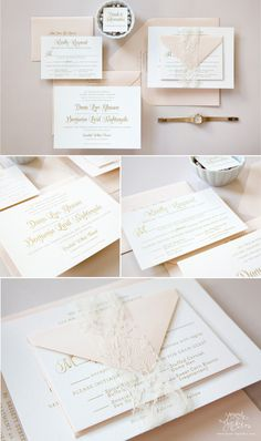 Romantic pink and gold wedding invitations with gold engraving, blush pink envelopes, and lace ribbon.