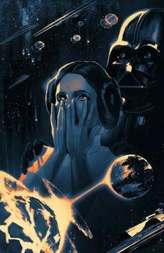 STAR WARS : Drawing | Leia ORGANA and DARTH VADER | By Stephanie HANS (MARVEL Comics) | STAR WARS : Fan Art