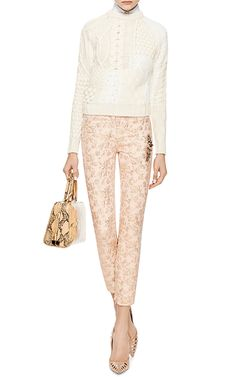 Embellished Cropped Brocade Pants by No. 21 Styled with Carven sweater, Delpozo shirt, Simone Rocha bag, and Paul Andrew pumps.