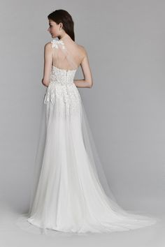 ... gown - Ivory English net sheath bridal gown with front slit eab68f1a8a7f