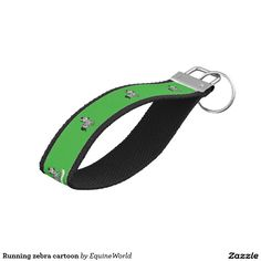 Running zebra cartoon wrist keychain