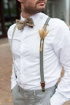 Bowtie, suspenders and wheat boutonniere... love it! Click the image to see the complete Real Wedding from Maison Meredith Photography. #MensFashionRustic