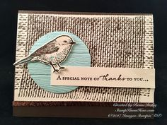 Case This Sketch Challenge 234 Today's card was inspired by a sketch challenge from Case This Sketch. The bird image from the Best Birds stamp set is set upon the Burlap background stamp. The simple color palette sets off the image nicely. Note Cards, Thank You Cards, Burlap Card, Rubber Stamping Techniques, Burlap Background, Easy Paper Crafts, Paper Crafting, Scrapbooking, Friendship Cards