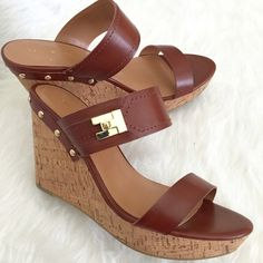 """Tommy Hilfiger Platform Wedge Sandals Super gorgeous and great with jeans or a dress. The Madasen platform wedge sandals are accented with a gorgeous gold-tone buckle that adds glamour and shine. 1"""" platform. 3.5"""" heel. New in box. No Trades. TB1108. Tommy Hilfiger Shoes Sandals"""