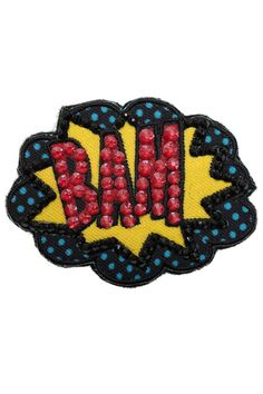 """Ekaterini Pop Art Collection """"BAM"""" badge with Swarovski crystals Women's Brooches, Jewelry Shop, Brooch Pin, Swarovski Crystals, Pop Art, Badge, Halloween, Accessories, Collection"""