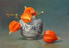 Pita Vreugdenhil,Still life with Chinese lanterns in a jar, 13 x 18 cm, oil on panel Still Life Drawing, Painting Still Life, Still Life Art, Floral Watercolor, Watercolor Paintings, Renaissance Artworks, Hyper Realistic Paintings, Drip Painting, Painting Abstract