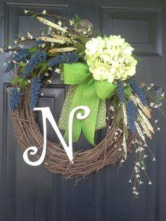 Front door wreath, monogram wreath, hydrangea wreath, burlap wreath, grapevine, french country, burlap bow, chevron bow, wreath with bow on Etsy, $57.00