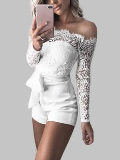 White Lace Details Off Shoulder Playsuits with Belt - US$19.95 -YOINS