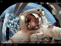 How can you take a selfie with the earth behind you yet there's a reflection of earth on your space helmet? Hmmmm,,,