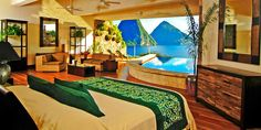 If only I could have a pool connecting my bedroom to the sea! This is a resort in Jade Mountain, St. Lucia Island