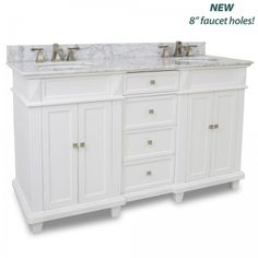 "60"" vanity with sleek white finish, clean lines and tapered feet with preassembled bowl and top."