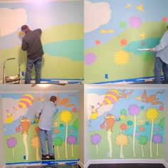 Seuss,  nursery, Lorax, oh the places you go, nursery mural, unisex nursery