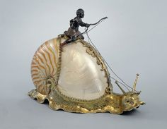 Snail with Nautilus Shell and Rider Artist: Jeremias Ritter Nuremberg, Germany. Nautilus shell, silver gilt c. Art Nouveau, Nautilus Shell, Shell Art, Sculpture, Oeuvre D'art, Sea Shells, Art Dolls, Renaissance, Glass Art