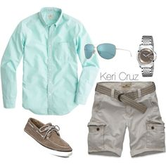 Men's Summer Fashion by keri-cruz on Polyvore featuring Gucci, J.Crew, Hollister Co., Sperry Top-Sider and Oliver Peoples