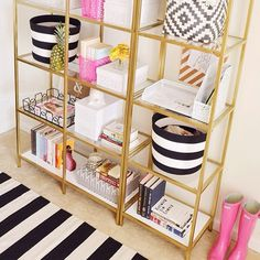 Gold spray painted shelves and cute decor. From mckennableu
