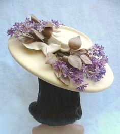 1940's Vintage Cream Wide Brim Hat with by MyVintageHatShop, $55.00
