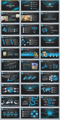 30+ Blue creative charts report PowerPoint Template