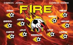 Fire-40511 digitally printed vinyl soccer sports team banner. Made in the USA and shipped fast by BannersUSA. www.bannersusa.com