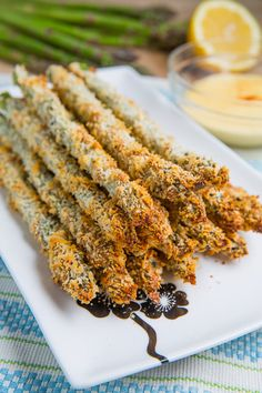 Crispy Baked Asparagus Fries ~ Asparagus coated in panko bread crumbs and parmesan and baked until golden brown and crispy.