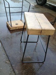 Bar stool - Creative metalwork, fabrication and blacksmithing south london Welded Furniture, Car Furniture, Steel Furniture, Recycled Furniture, Industrial Furniture, Industrial Stool, Furniture Stores, Log Bar Stools, Metal Bar Stools