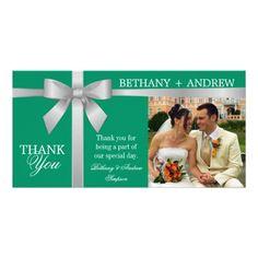 Silver Ribbon Green Wedding Thank You Photo Card Template