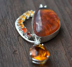 Amber Pendant with Citrine Fire Opal and Garnet by Crystalsidyll