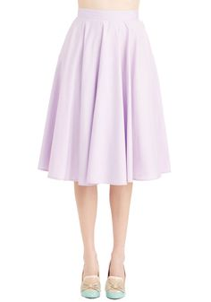Whimsical Wonder Skirt in Lilac. Its easy to see why youre head over heels for this pale purple skirt! #lavender #modcloth