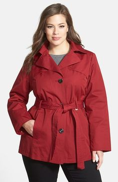 Ellen Tracy Short Trench Coat with Detachable Hood (Plus Size) available at #Nordstrom