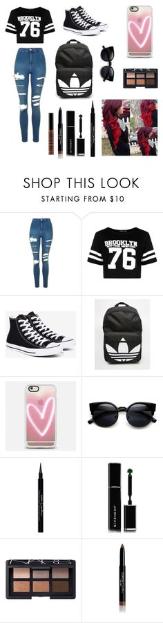 """Untitled #137"" by claire394 ❤ liked on Polyvore featuring Topshop, Boohoo, Converse, adidas, Casetify, Givenchy, NARS Cosmetics and Lord & Berry"
