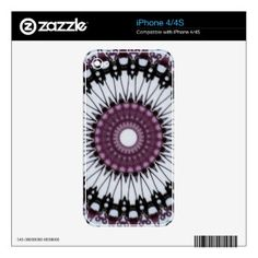 Made of ultrathin and super-durable 3M vinyl, Zazzle iPhone 4/4S skins feature patented air release technology for a smooth, zero-bubble surface that protects your device from everyday scratches and scuffs without adding bulk. Printed and laminated with the highest quality standards and precision fitted for your iPhone 4/4S. #skins #phoneskins #iPhone #kaleidoscope #mandala #abstract #geometric #pattern #flowers #reiki #nature Made in the USA.
