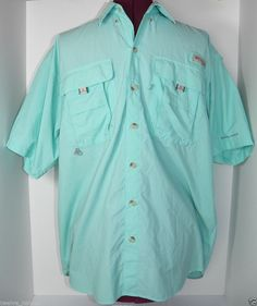 Men s PFG Columbia Shirt Omni Shade Vented Button Front Size Small Teal  Blue  Columbia  PFG  fishing b883881cd