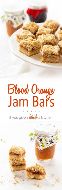 Blood orange bars are a twist on a family favorite. They're made with a simple shortbread crust, Bleuberet blood orange jam and a crumble oat topping. | www.ifyougiveablondeakitchen.com