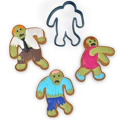 Zombies crave brains, but humans crave cookies. If you love the undead and love cookies, try these UndeadFred Zombie Cookie Cutters. Zombie Cookies, Halloween Cookies, Halloween Treats, Fall Halloween, Christmas Cookies, Spooky Treats, Halloween Baking, Holiday Treats, Holiday Recipes