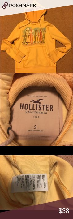 Pale yellow Hollister hoodie Great condition. Like new. Very comfortable. Hollister Jackets & Coats Lightweight & Shirt Jackets