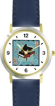 Grand Piano Musical Instrument 2 - Music Theme - WATCHBUDDY® DELUXE TWO-TONE THEME WATCH - Arabic Numbers - Blue Leather Strap-Size-Children's Size-Small ( Boy's Size & Girl's Size ) WatchBuddy. $49.95. Save 38% Off!