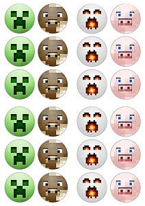 Minecraft Game 24x Edible Cup Cake Topper UK SELLER | eBay  Bought these: printed on rice paper with edible ink: pop them on your cupcakes but make sure the icing is very stiff and not wet or they curl up.