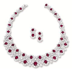 Magnificent ruby and diamond necklace with matching earrings